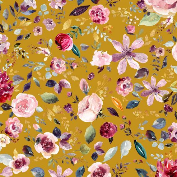 BIO Baumwolljersey Flowers (Senf)