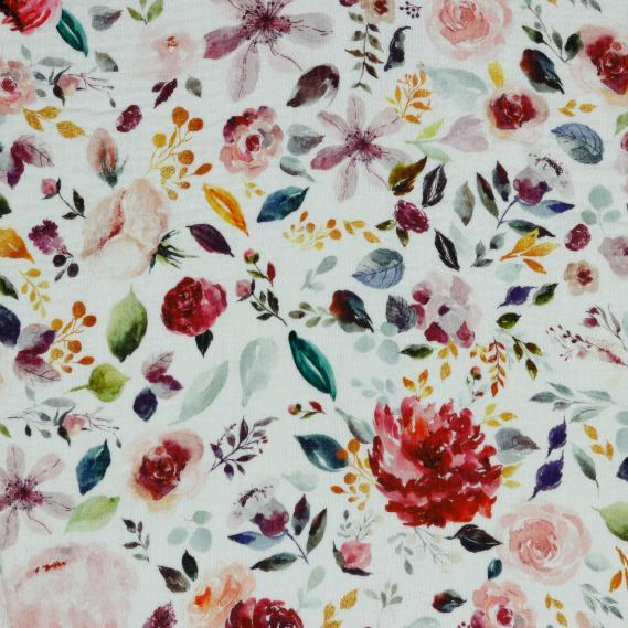 BIO Musselin Flowers (Weiß)