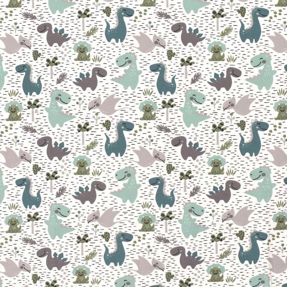 Baumwolljersey Dinos (Grau Weiß)