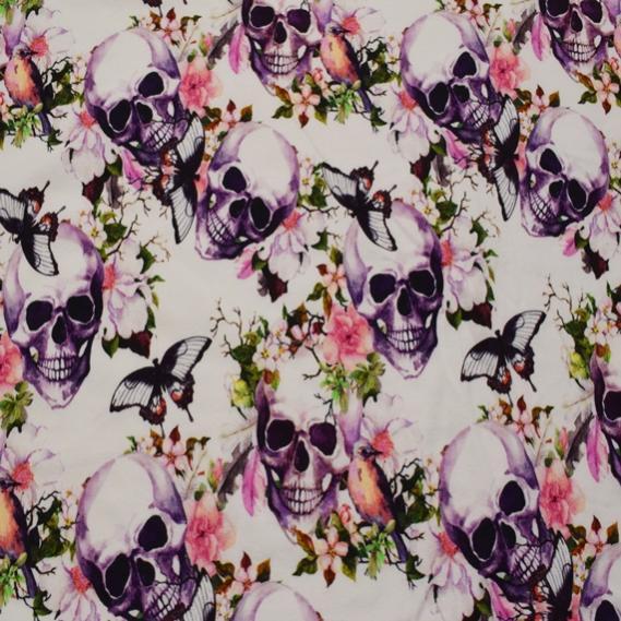 Baumwolljersey Flower Skulls