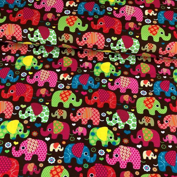 Baumwolljersey Elefantenparade (braun pink)